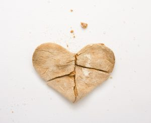 Fragile heart made out of flat bread