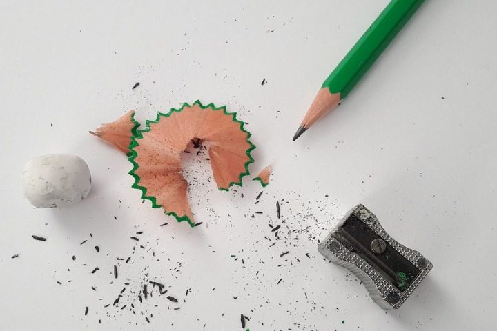 Sharpened pencil, pencil sharpener, pencil shavings